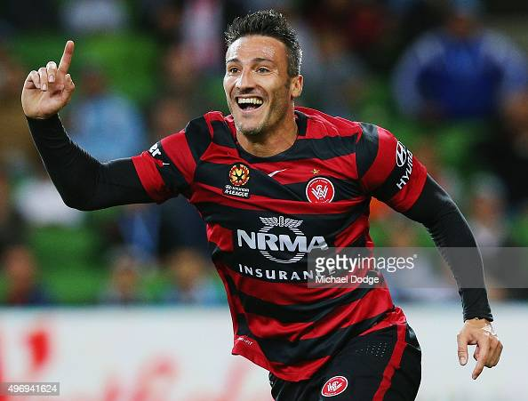 Frederico Piovaccari of the Wanderers celebrates a goal during the round six ALeague match between Melbourne City FC and the Western Sydney Wanderers...