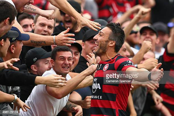 Frederico Piovaccari of the Wanderers celebrates scoring a goal during the round seven ALeague match between Western Sydney Wanderers and Wellington...