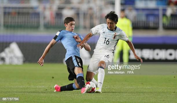 Frederico Valverde of Uruguay and Teruki Hara of Japan during the FIFA U20 World Cup Korea Republic 2017 group D match between Uruguay and Japan at...