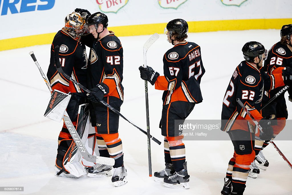<a gi-track='captionPersonalityLinkClicked' href=/galleries/search?phrase=Frederik+Andersen&family=editorial&specificpeople=6605243 ng-click='$event.stopPropagation()'>Frederik Andersen</a> #31, <a gi-track='captionPersonalityLinkClicked' href=/galleries/search?phrase=Josh+Manson&family=editorial&specificpeople=10214669 ng-click='$event.stopPropagation()'>Josh Manson</a> #42, <a gi-track='captionPersonalityLinkClicked' href=/galleries/search?phrase=Rickard+Rakell&family=editorial&specificpeople=7418004 ng-click='$event.stopPropagation()'>Rickard Rakell</a> #67, and <a gi-track='captionPersonalityLinkClicked' href=/galleries/search?phrase=Shawn+Horcoff&family=editorial&specificpeople=239536 ng-click='$event.stopPropagation()'>Shawn Horcoff</a> #22 of the Anaheim Ducks react after a game agains the Ottawa Senators at Honda Center on January 13, 2016 in Anaheim, California. The Anaheim Ducks defeated the Ottawa Senators 4-1.