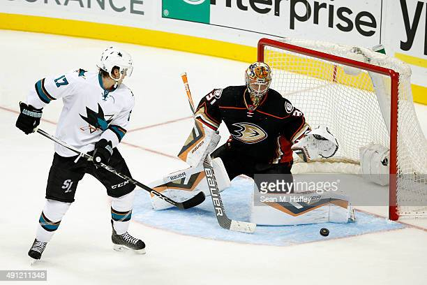 Frederik Andersen of the Anaheim Ducks blocks a deflection by John McCarthy of the San Jose Sharks in the third period of a pre season game at Honda...