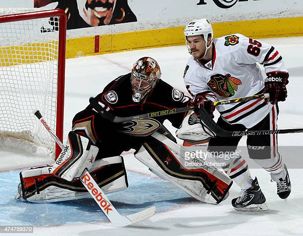 Frederik Andersen of the Anaheim Ducks defends the net against Andrew Shaw of the Chicago Blackhawks in Game Five of the Western Conference Finals...