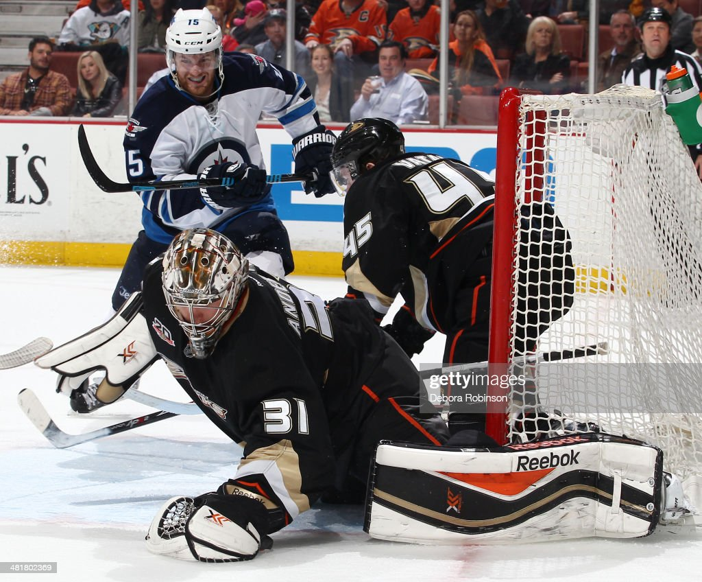 <a gi-track='captionPersonalityLinkClicked' href=/galleries/search?phrase=Frederik+Andersen&family=editorial&specificpeople=6605243 ng-click='$event.stopPropagation()'>Frederik Andersen</a> #31 of the Anaheim Ducks defends the net against the Winnipeg Jets on March 31, 2014 at Honda Center in Anaheim, California.