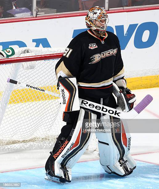Frederik Andersen of the Anaheim Ducks defends the net during the game against the Dallas Stars on October 20 2013 at Honda Center in Anaheim...