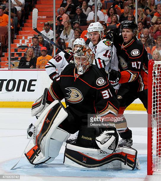 Frederik Andersen of the Anaheim Ducks defends the net during the game against the Chicago Blackhawks in Game Seven of the Western Conference Finals...