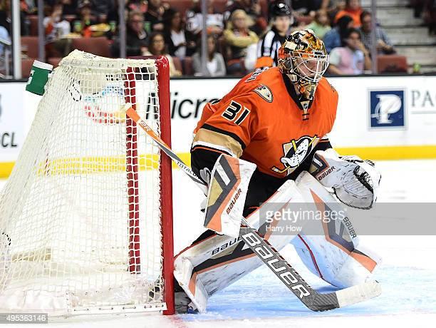Frederik Andersen of the Anaheim Ducks in goal against the Nashville Predators at Honda Center on November 1 2015 in Anaheim California