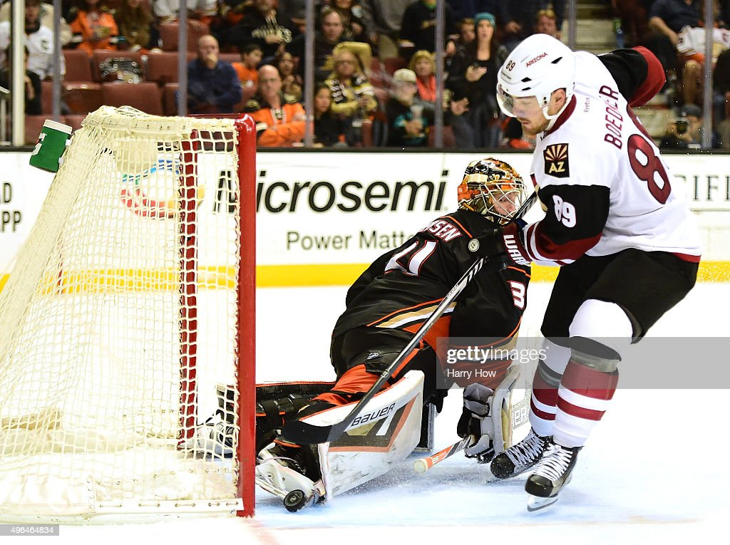 Frederik Andersen of the Anaheim Ducks looks back as Mikkel Boedker of the Arizona Coyotes scores to give the Coyotes a 43 win in overtime at Honda...