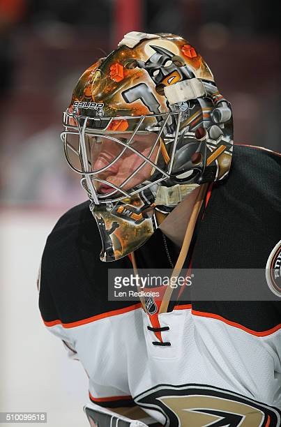 Frederik Andersen of the Anaheim Ducks looks on against the Philadelphia Flyers on February 9 2016 at the Wells Fargo Center in Philadelphia...