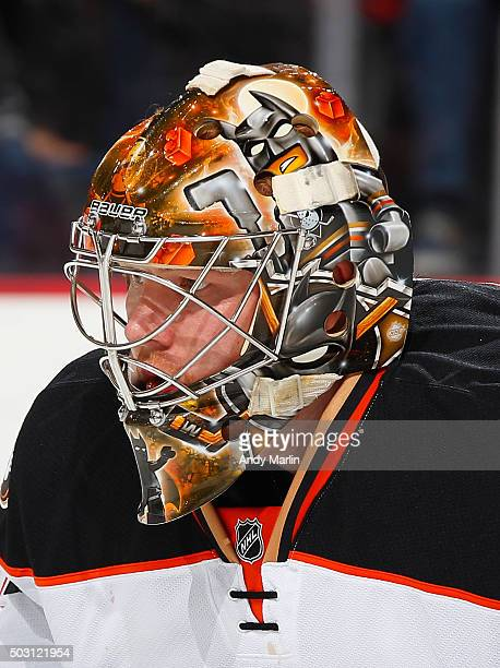 Frederik Andersen of the Anaheim Ducks looks on against the New Jersey Devils during the game at the Prudential Center on December 19 2015 in Newark...