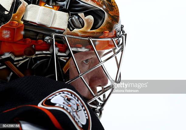 Frederik Andersen of the Anaheim Ducks looks on before the game against the Detroit Red Wings on January 10 2016 at Honda Center in Anaheim California