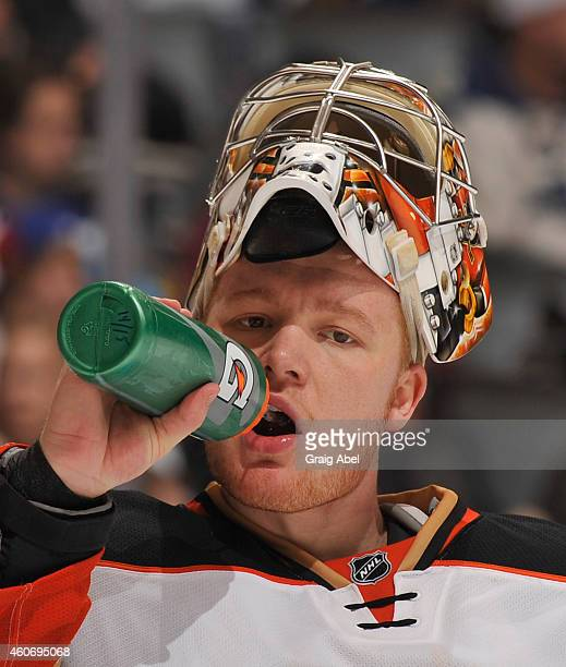 Frederik Andersen of the Anaheim Ducks looks on during NHL game action against the Toronto Maple Leafs December 16 2014 at the Air Canada Centre in...