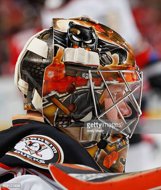 Frederik Andersen of the Anaheim Ducks looks on during pregame warmups prior to the game against the New Jersey Devils at the Prudential Center on...