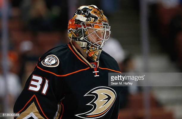 Frederik Andersen of the Anaheim Ducks looks on during the first period of a game against the Buffalo Sabres at Honda Center on February 24 2016 in...