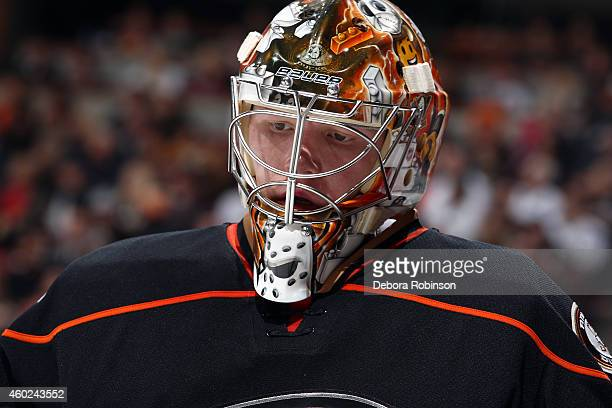 Frederik Andersen of the Anaheim Ducks looks on during the game against the Boston Bruins on December 1 2014 at Honda Center in Anaheim California