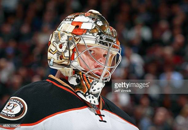 Frederik Andersen of the Anaheim Ducks looks on from his crease during their NHL game against the Vancouver Canucks at Rogers Arena January 27 2015...