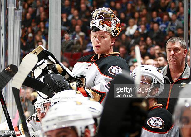 Frederik Andersen of the Anaheim Ducks looks on from the bench during their NHL game against the Vancouver Canucks at Rogers Arena March 9 2015 in...