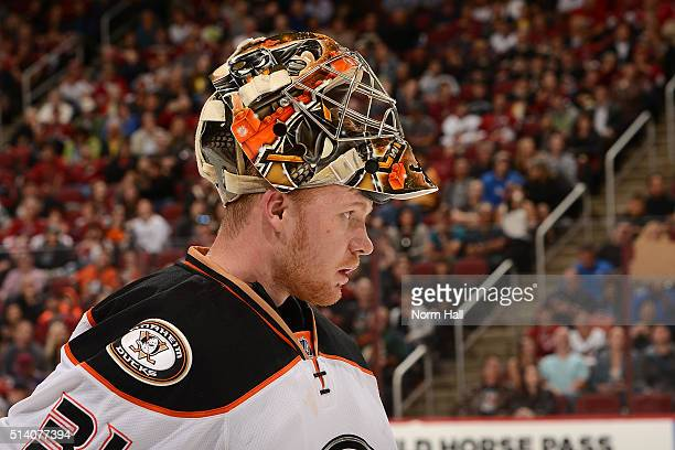 Frederik Andersen of the Anaheim Ducks looks up ice during a stop in play against the Arizona Coyotes at Gila River Arena on March 3 2016 in Glendale...