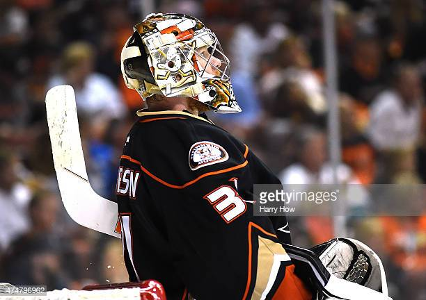 Frederik Andersen of the Anaheim Ducks looks up to the scoreboard during the game against the Chicago Blackhawks in the second period of Game Five of...
