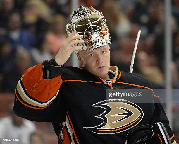 Frederik Andersen of the Anaheim Ducks reacts after a goal from Rob Klinkhammer of the Arizona Coyotes during the second period at Honda Center on...