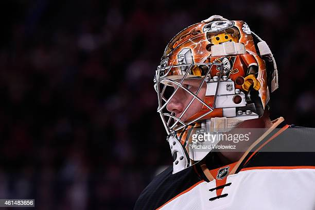 Frederik Andersen of the Anaheim Ducks skates during the NHL game against the Montreal Canadiens at the Bell Centre on December 18 2014 in Montreal...