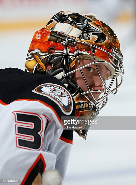 Frederik Andersen of the Anaheim Ducks skates in warmups prior to the game against the Nashville Predators during an NHL game at Bridgestone Arena on...