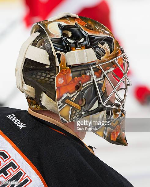 Frederik Andersen of the Anaheim Ducks stretches in warmups prior to an NHL game against the Detroit Red Wings at Joe Louis Arena on January 23 2015...