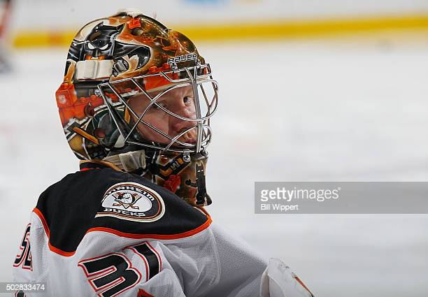 Frederik Andersen of the Anaheim Ducks takes part in warmups before playing the Buffalo Sabres in an NHL game on December 17 2015 at the First...