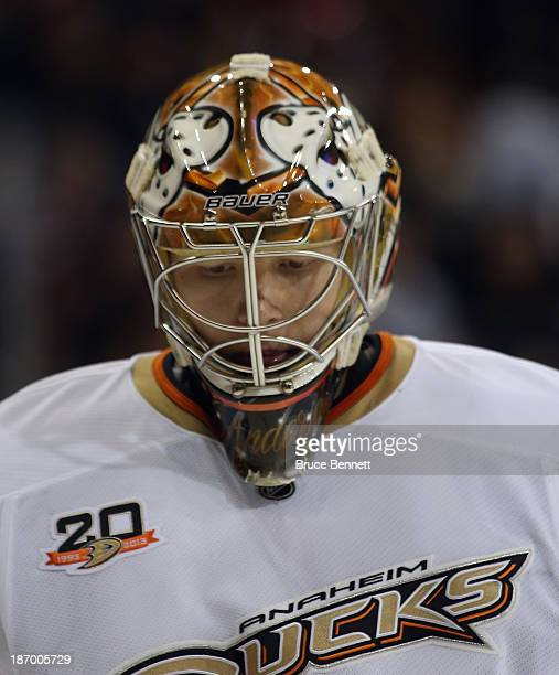 Frederik Andersen of the Anaheim Ducks tends net against the New York Rangers at Madison Square Garden on November 4 2013 in New York City The Ducks...