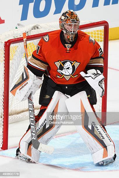 Frederik Andersen of the Anaheim Ducks waits for play to begin against the Colorado Avalanche on October 16 2015 at Honda Center in Anaheim California