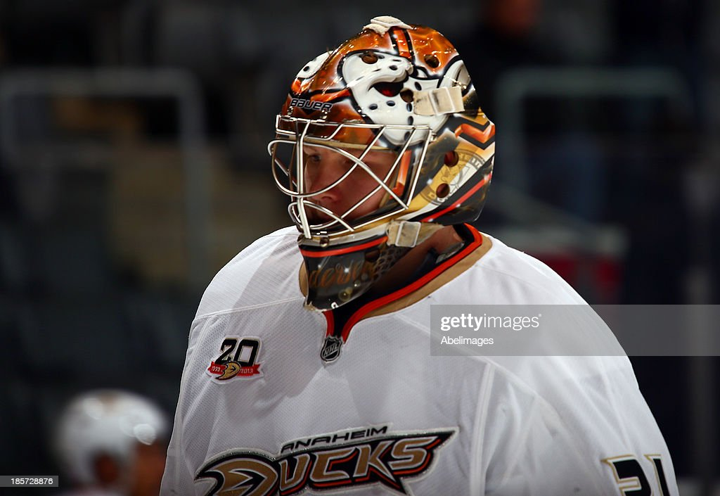 Frederik Andersen #31 of the Anaheim Ducks warms up before NHL action against the Toronto Maple Leafs at the Air Canada Centre October 22, 2013 in Toronto, Ontario, Canada.