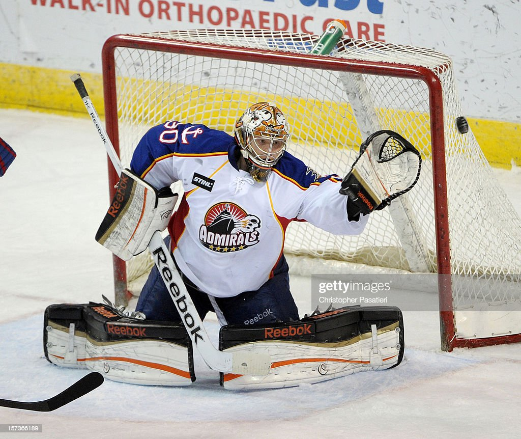 Frederik Andersen #30 of the Norfolk Admirals watches a shot on goal during an American Hockey League game against the Bridgeport Sound Tigers on December 2, 2012 at the Webster Bank Arena in Bridgeport, Connecticut. The Admirals defeated the Sound Tigers 4-1.