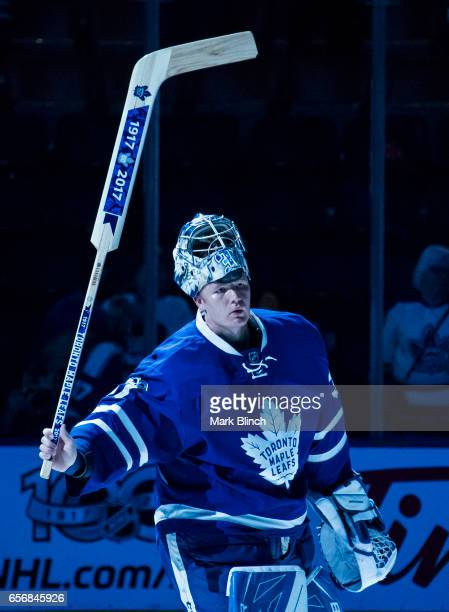 Frederik Andersen of the Toronto Maple Leafs celebrates getting the first star against the Boston Bruins during the third period at the Air Canada...