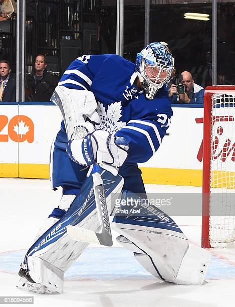 TORONTO ON OCTOBER 25 Frederik Andersen of the Toronto Maple Leafs clears the puck against Tampa Bay Lightning during the second period at the Air...
