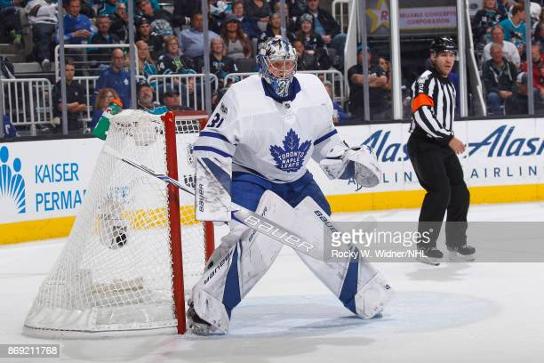 Frederik Andersen of the Toronto Maple Leafs defends the net against the San Jose Sharks at SAP Center on October 30 2017 in San Jose California