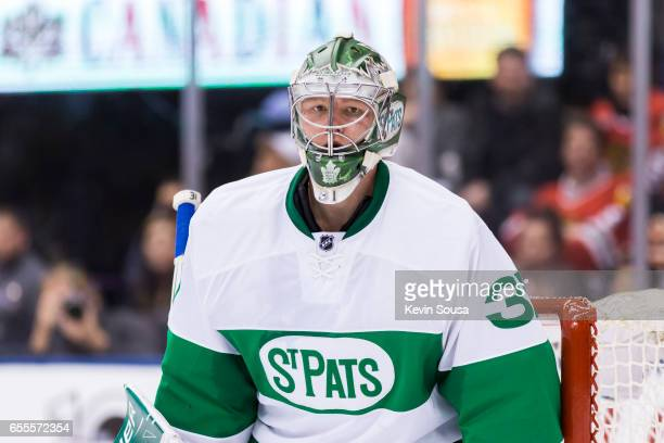 Frederik Andersen of the Toronto Maple Leafs during an NHL game against the Chicago Blackhawks during the third period at the Air Canada Centre on...