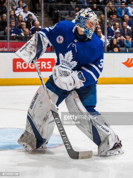 Frederik Andersen of the Toronto Maple Leafs guards the net against the Boston Bruins during the second period at the Air Canada Centre on November...