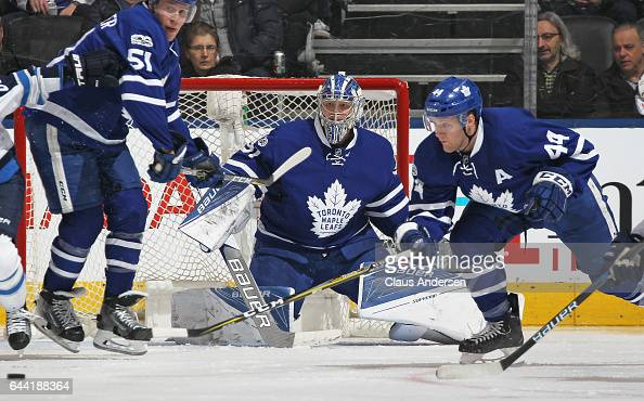 Frederik Andersen of the Toronto Maple Leafs keeps an eye on a loose puck against the Winnipeg Jets during an NHL game at Air Canada Centre on...