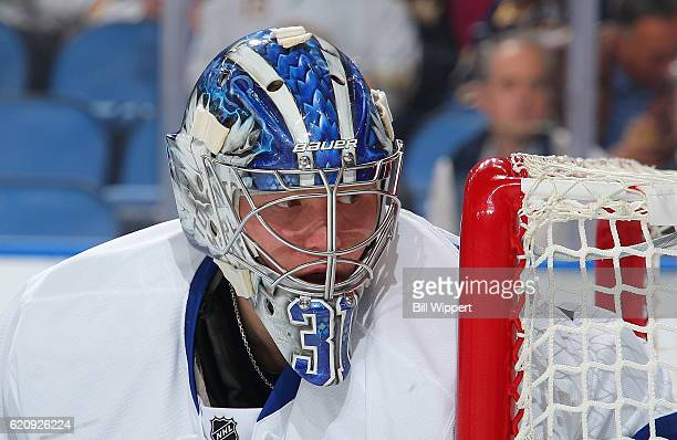 Frederik Andersen of the Toronto Maple Leafs keeps an eye on the play during an NHL game against the Buffalo Sabres at the KeyBank Center on November...