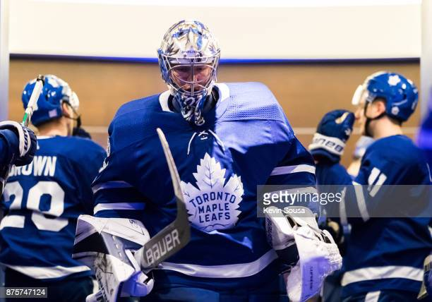 Frederik Andersen of the Toronto Maple Leafs leave the locker room before the third period against the New Jersey Devils at the Air Canada Centre on...