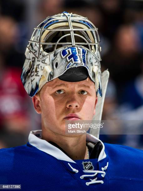Frederik Andersen of the Toronto Maple Leafs looks on in a break against the Montreal Canadiensduring the second period at the Air Canada Centre on...
