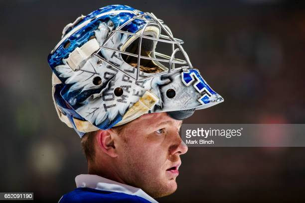 Frederik Andersen of the Toronto Maple Leafs looks on prior to the game against the Philadelphia Flyers at the Air Canada Centre on March 9 2017 in...