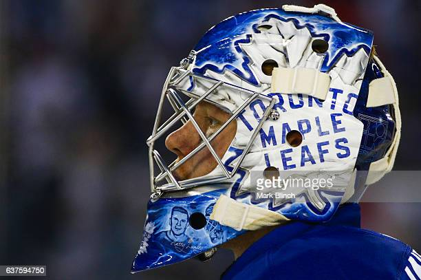 Frederik Andersen of the Toronto Maple Leafs looks on while playing the Detroit Red Wings during the second period of the 2017 Scotiabank NHL...