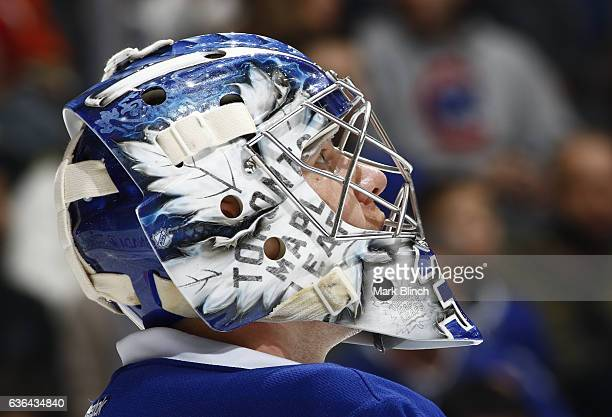 Frederik Andersen of the Toronto Maple Leafs looks up during a break in play against the Anaheim Ducks during the second period at the Air Canada...