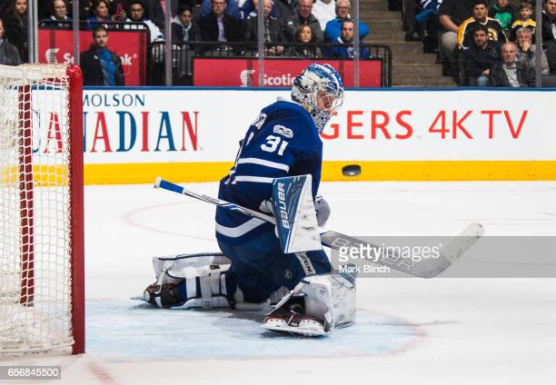 Frederik Andersen of the Toronto Maple Leafs makes a save against the Boston Bruins during the second period at the Air Canada Centre on March 20...