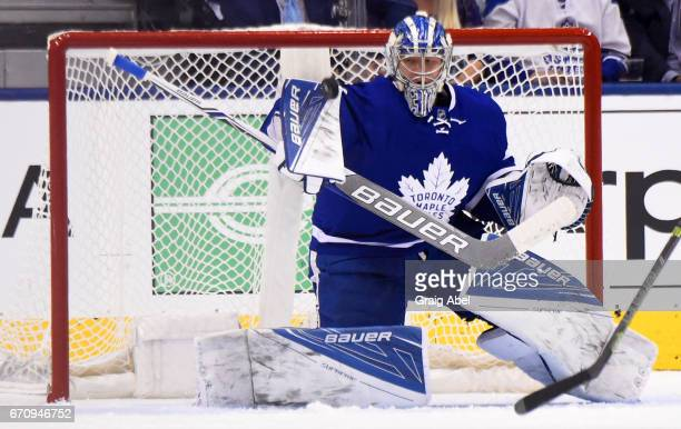 Frederik Andersen of the Toronto Maple Leafs makes a save against the Washington Capitals during the first period in Game Four of the Eastern...