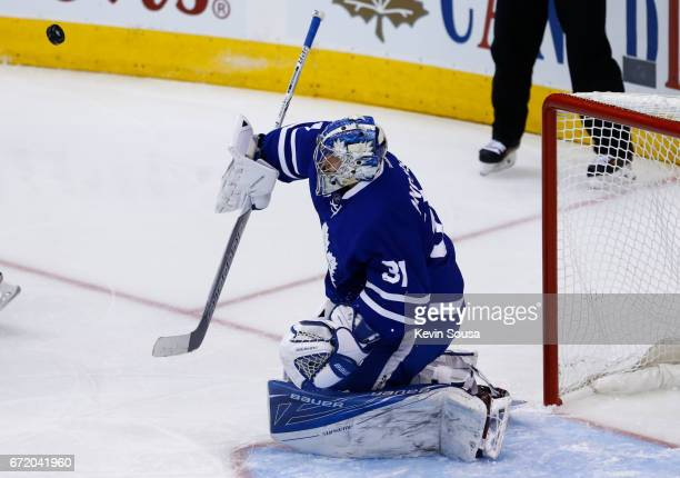 Frederik Andersen of the Toronto Maple Leafs makes a save against the Washington Capitals during the first period in Game Six of the Eastern...
