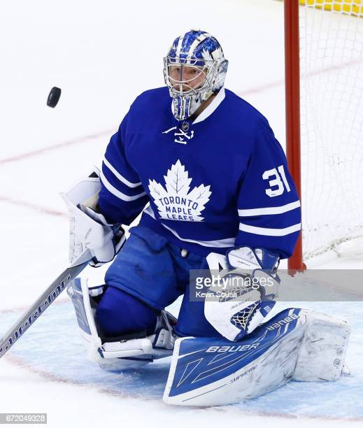 Frederik Andersen of the Toronto Maple Leafs makes a save on the Washington Capitals during the first period in Game Six of the Eastern Conference...