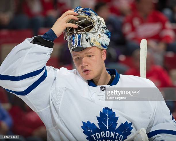 Frederik Andersen of the Toronto Maple Leafs skates around on a play stoppage against the Detroit Red Wings during an NHL game at Joe Louis Arena on...