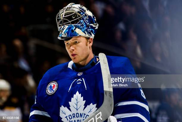 Frederik Andersen of the Toronto Maple Leafs skates in a break in play against the Boston Bruins during the second period at the Air Canada Centre on...