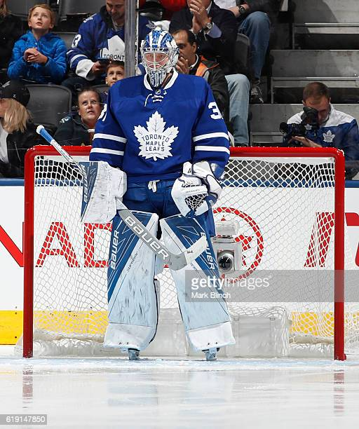 TORONTO ON OCTOBER 27 Frederik Andersen of the Toronto Maple Leafs stands in net against the Florida Panthers during the first period at the Air...